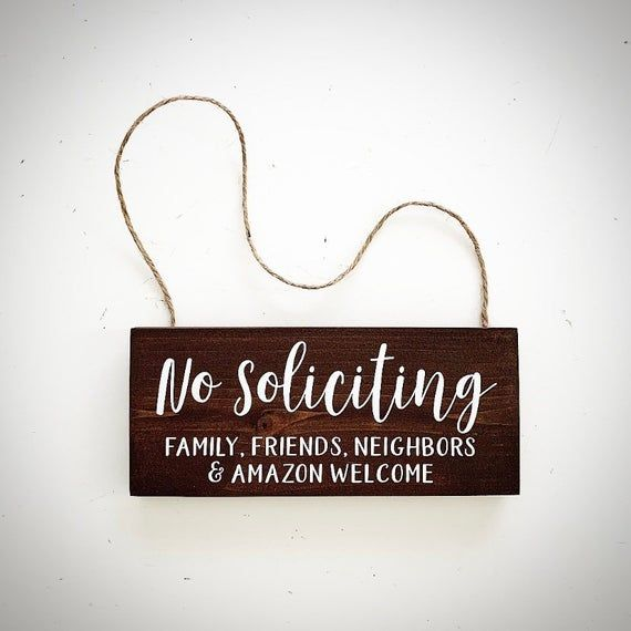 Custom Wood No Soliciting Sign - Handcrafted 3.5x8 Door Wreath Sign - Front Door Welcome Sign - Family Friends Neighbors & Delivery Drivers