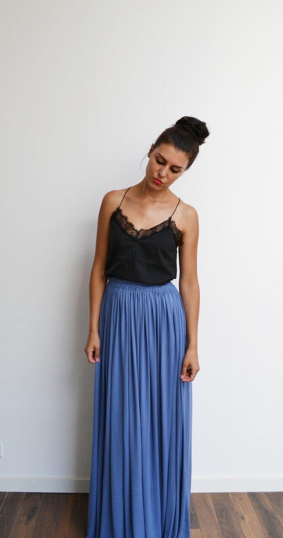 Slate Waist High Skirt Bohemian Blue Fluid Maxi Long drBWCoEQxe