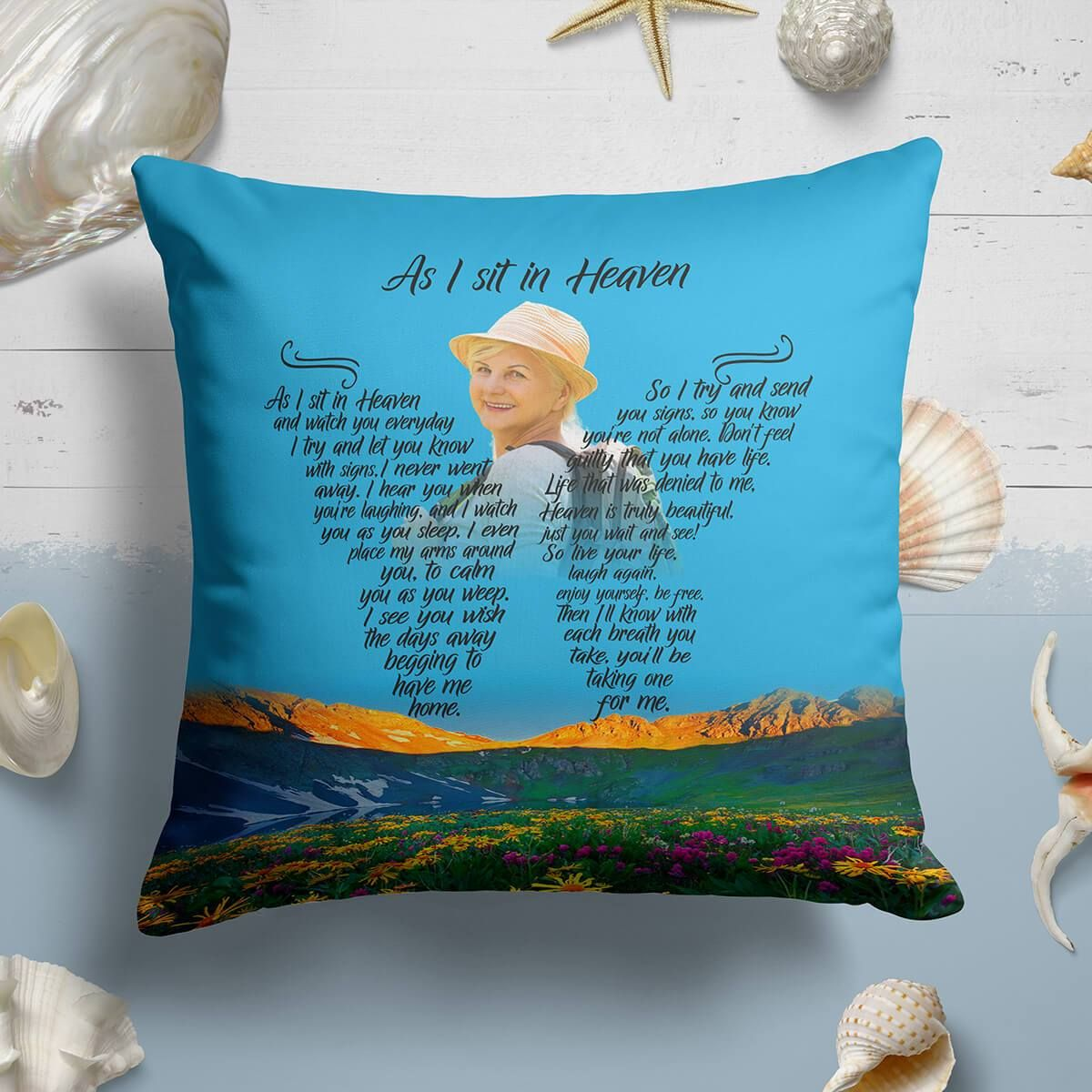 As I Sit In Heaven - Mountains Of Dreams Pillow - 20x20