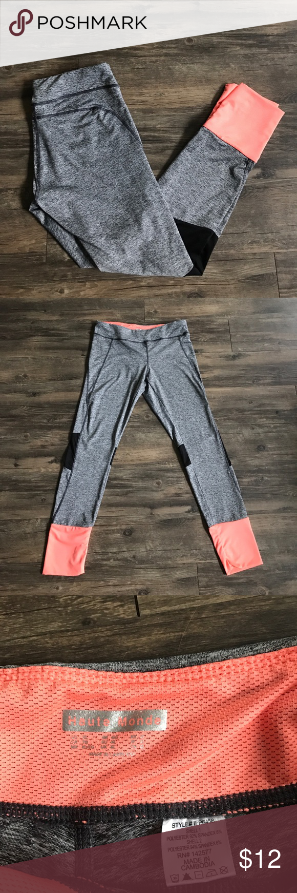"Activewear Florescent Pants (long) NEW Without tags! Super cute!! Size XL and very soft and stretchy breathable material. Great fluorescent and black accents on the gray material. Perfect for a tall girl they are 31"" inseam! Pants Track Pants & Joggers"