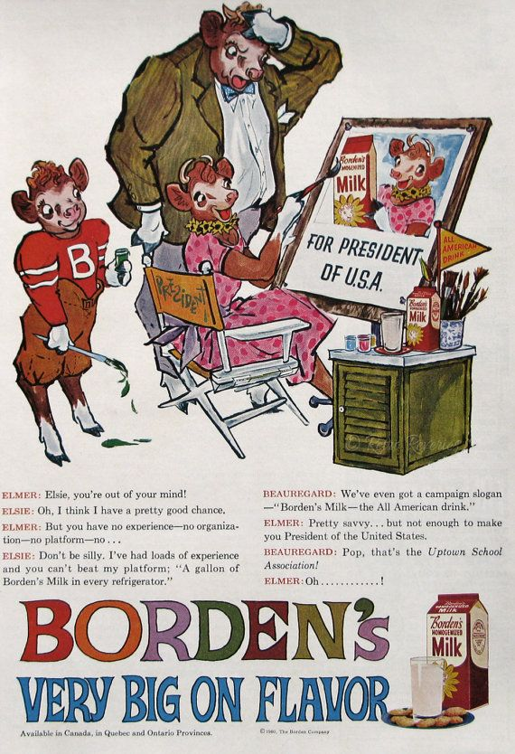 elsie the cow bordens ad 1939 dont look now but that man is crazy about me