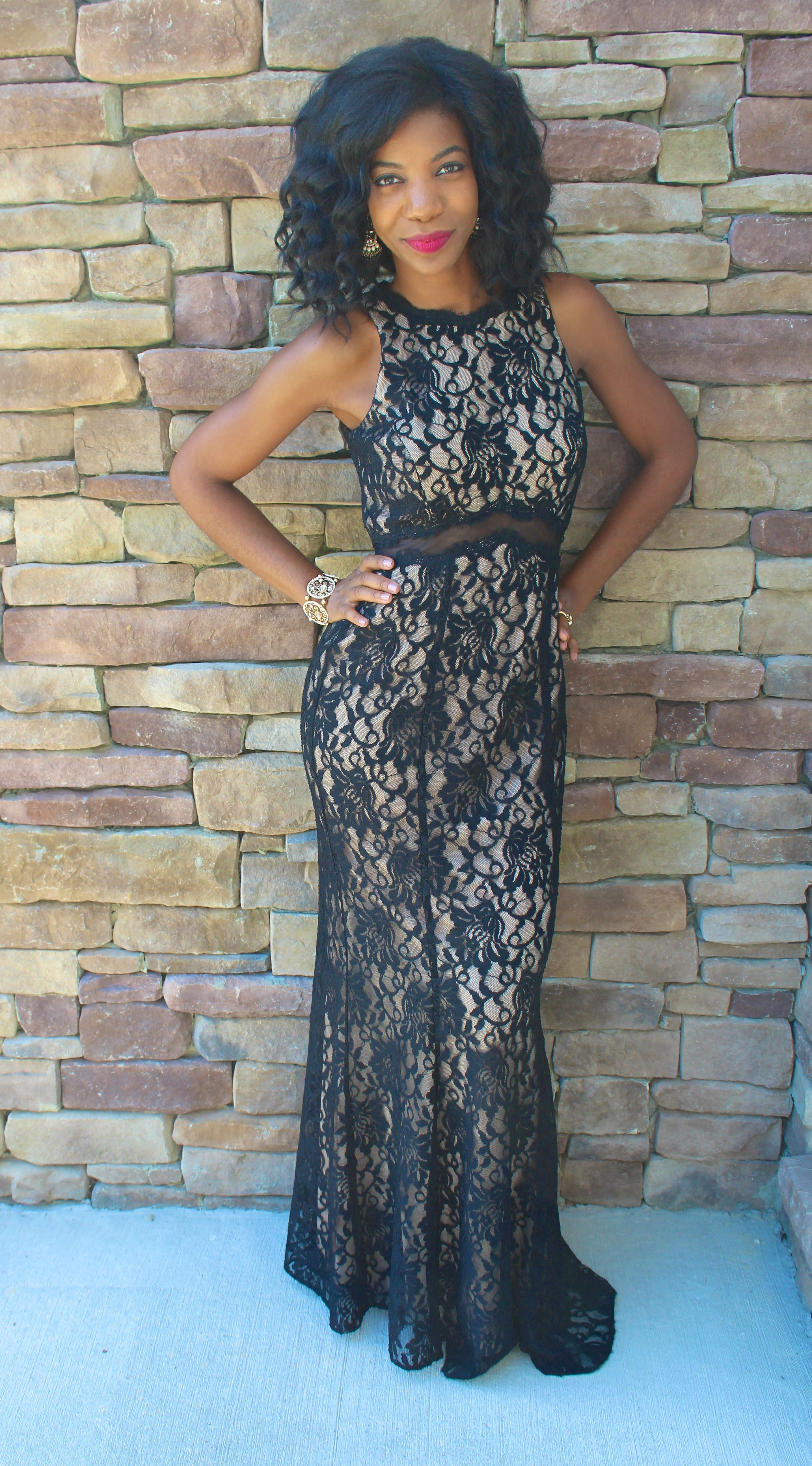 formal wear, black tie, black evening gown, black and lace evening ...