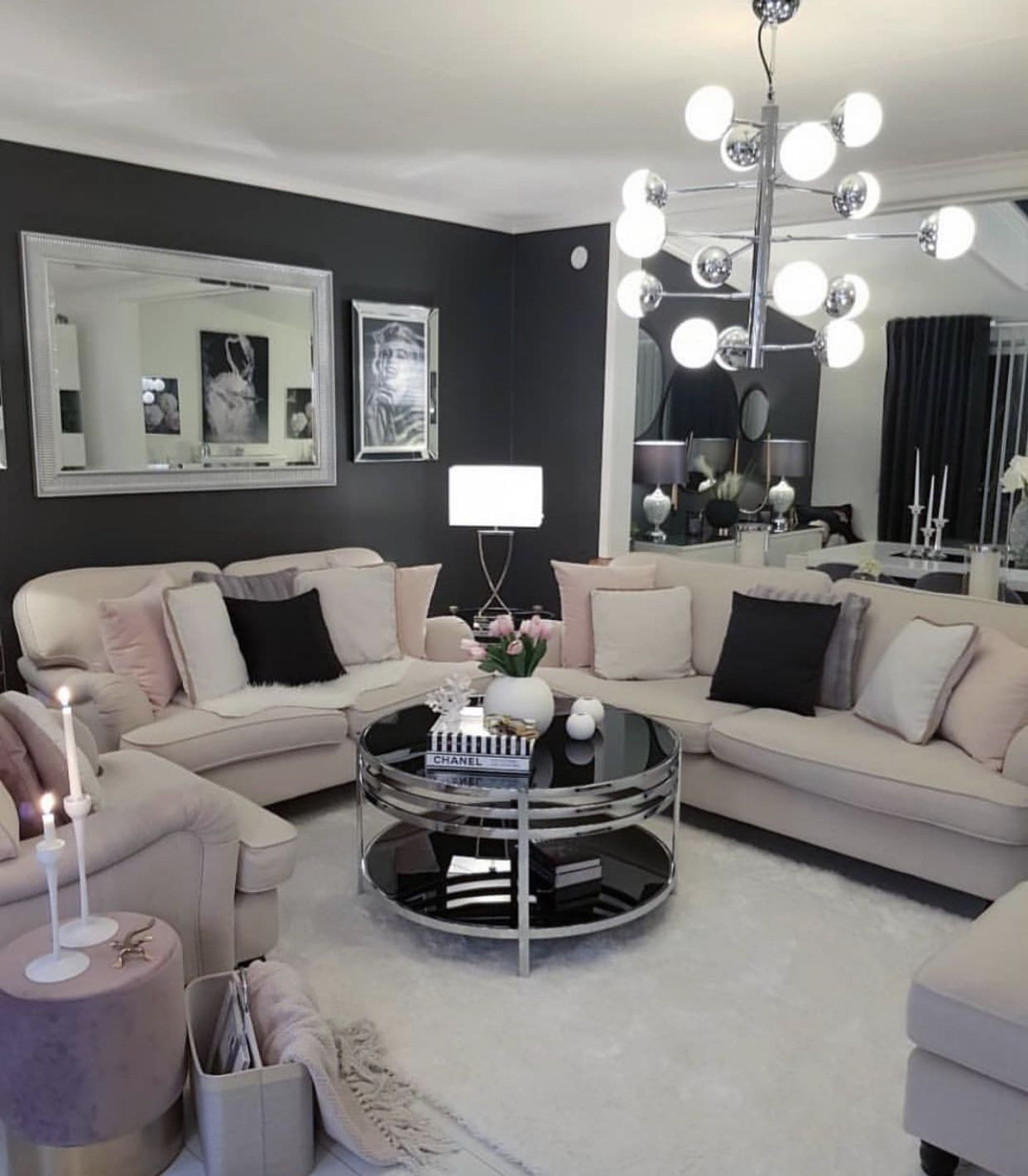 Tan Grey And Pink Living Room Glam Living Room Home Decor Home