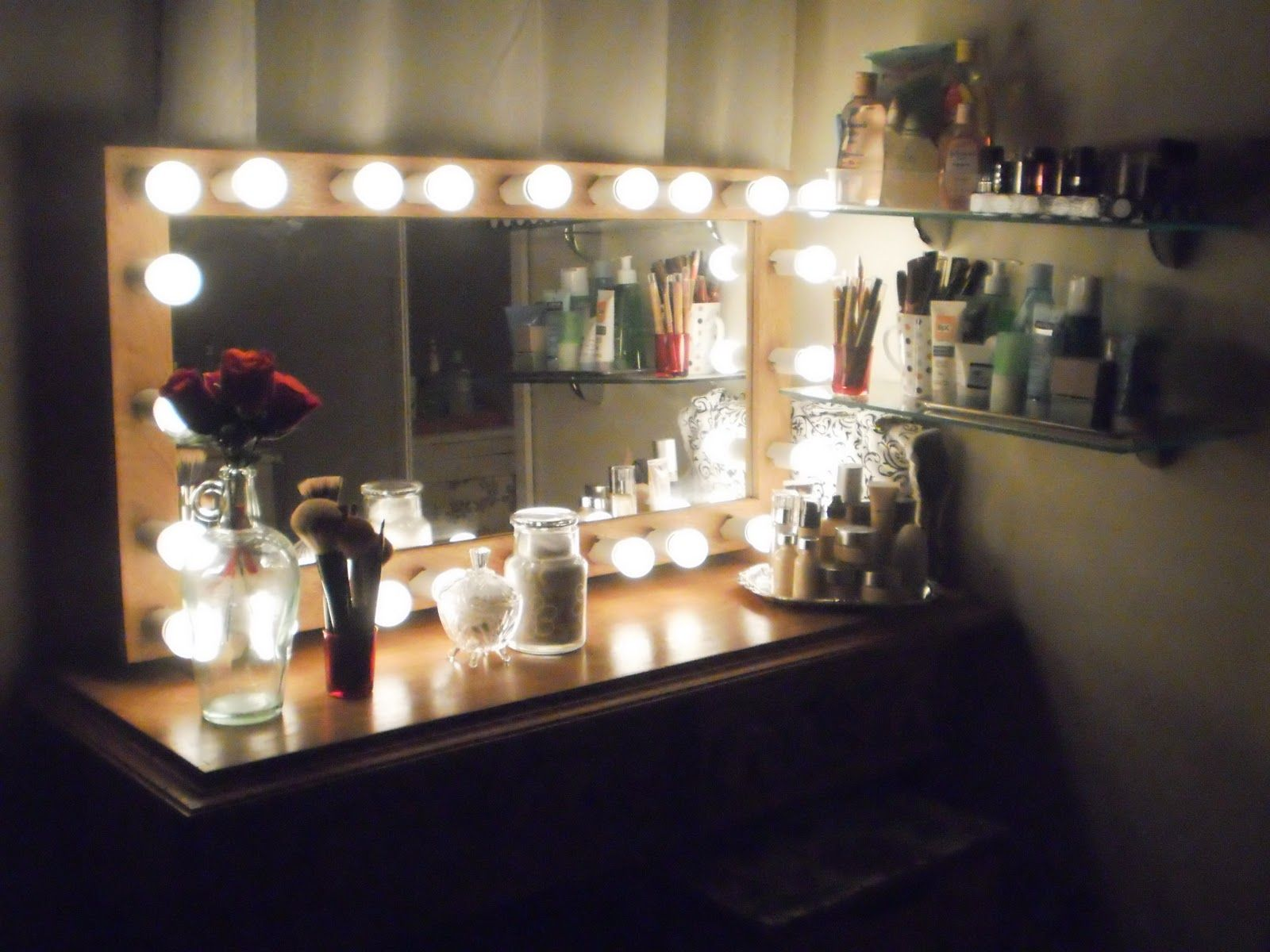 lights setup makeup for room diy decorated my christmas your of ikea vanity mirror brilliant and vanities with also bedroom gallery