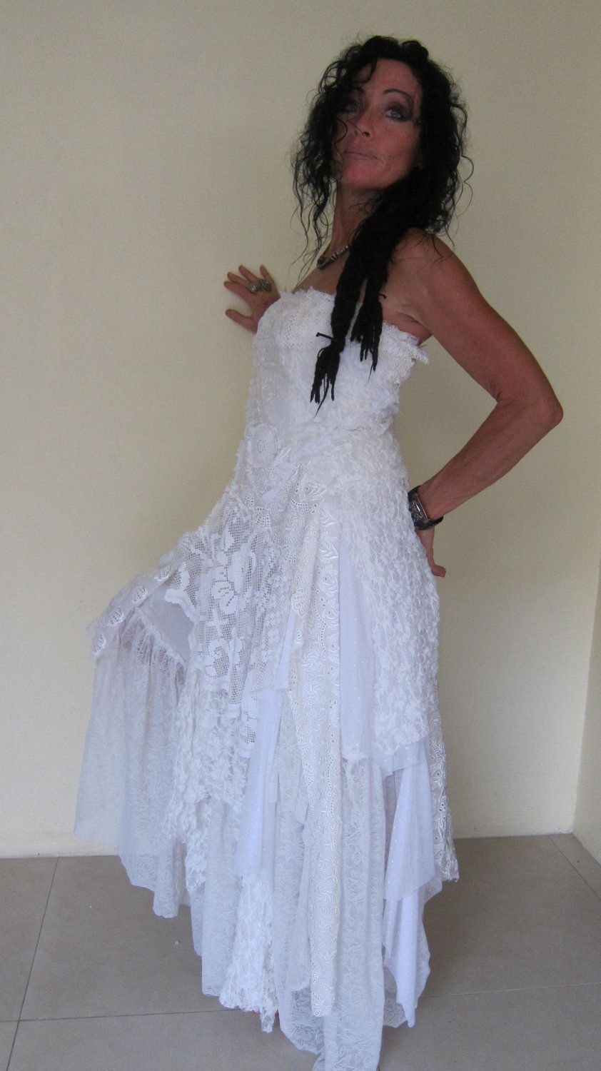 Vintage inspired shabby bohemian gypsy wedding dress ...small to 34 ...