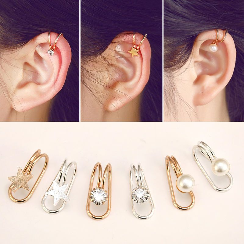Details About 1pair Women Crystal Ear Clip On Cuff Wrap Non