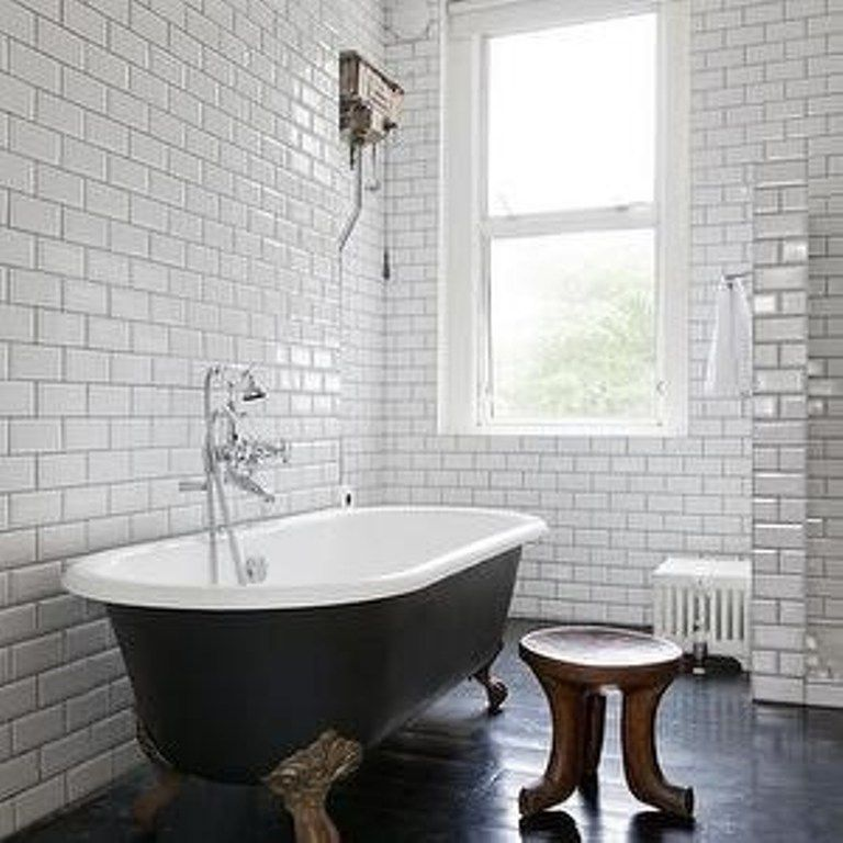 Bathroom Tiles With Dark Grout love the subway tile, love the standalone tub, the stool. pretty