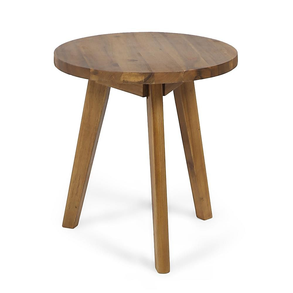 Noble House Marina Dark Gray Round Wood Outdoor Side Table 42943 The Home Depot Side Table Wood Outdoor Side Table Side Table