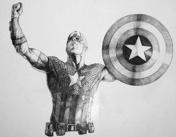 капитан америка арты простым карандашом когда-то