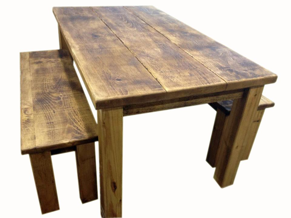 Rustic Plank Solid Pine Dining Table Bench Set Dining Table