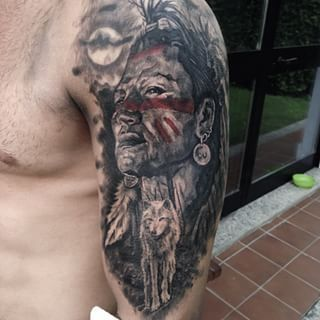 Image Result For Eagle And Indian Tattoo Indian Tattoo Native Indian Tattoos Native American Tattoo Sleeve