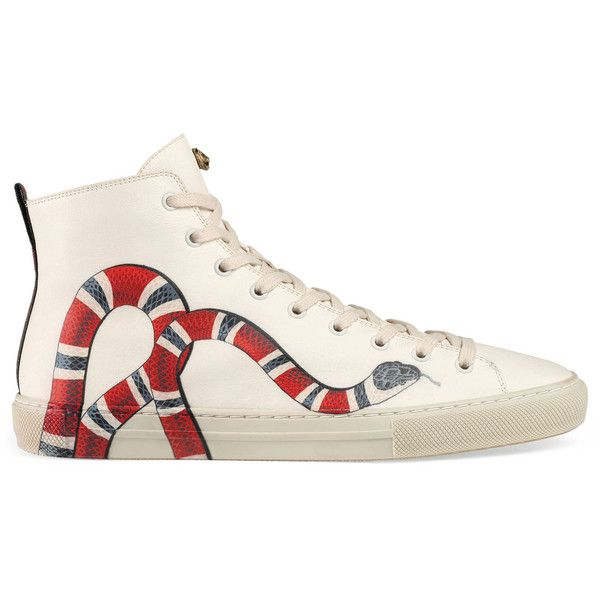 Gucci Leather High Top With Kingsnake 790 Liked On Polyvore Featuring Mens Fashion Shoes Sneakers White
