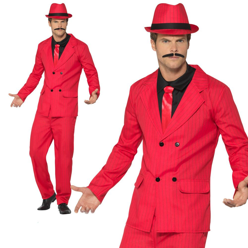 New Adult Gangster Zoot Suit Costume Mens 1920s Mafia Fancy Dress Outfit