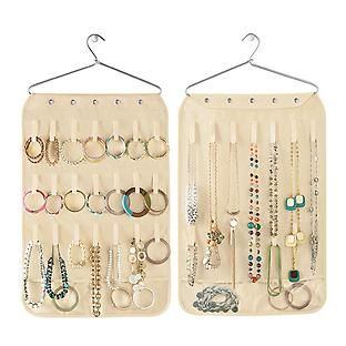 Hang our Canvas Necklace Bracelet Organizer on a closet rod or