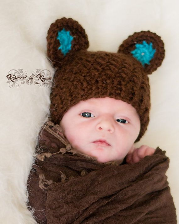 Crochet bear hat with ears baby boy hat i may need to crochet some cute baby boy stuff for a new little friend
