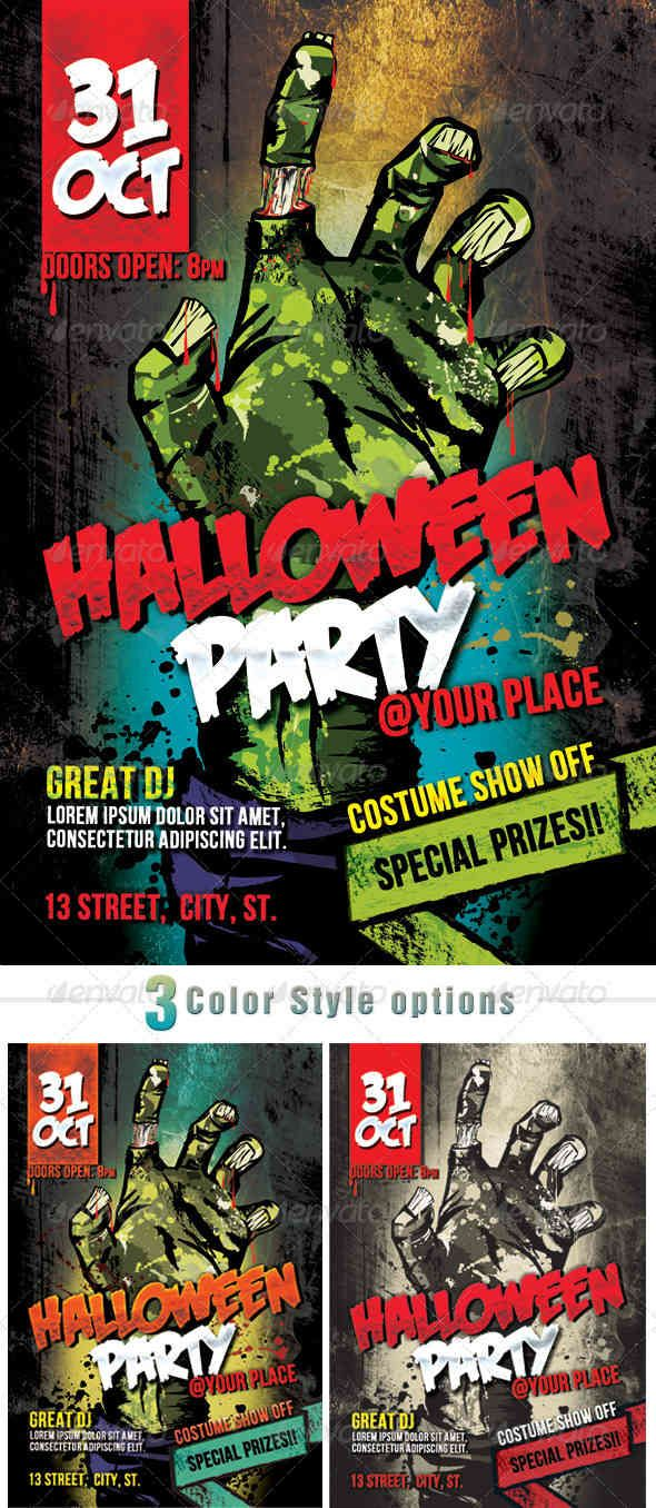 Zombie Halloween Party  Halloween Flyers  Posters