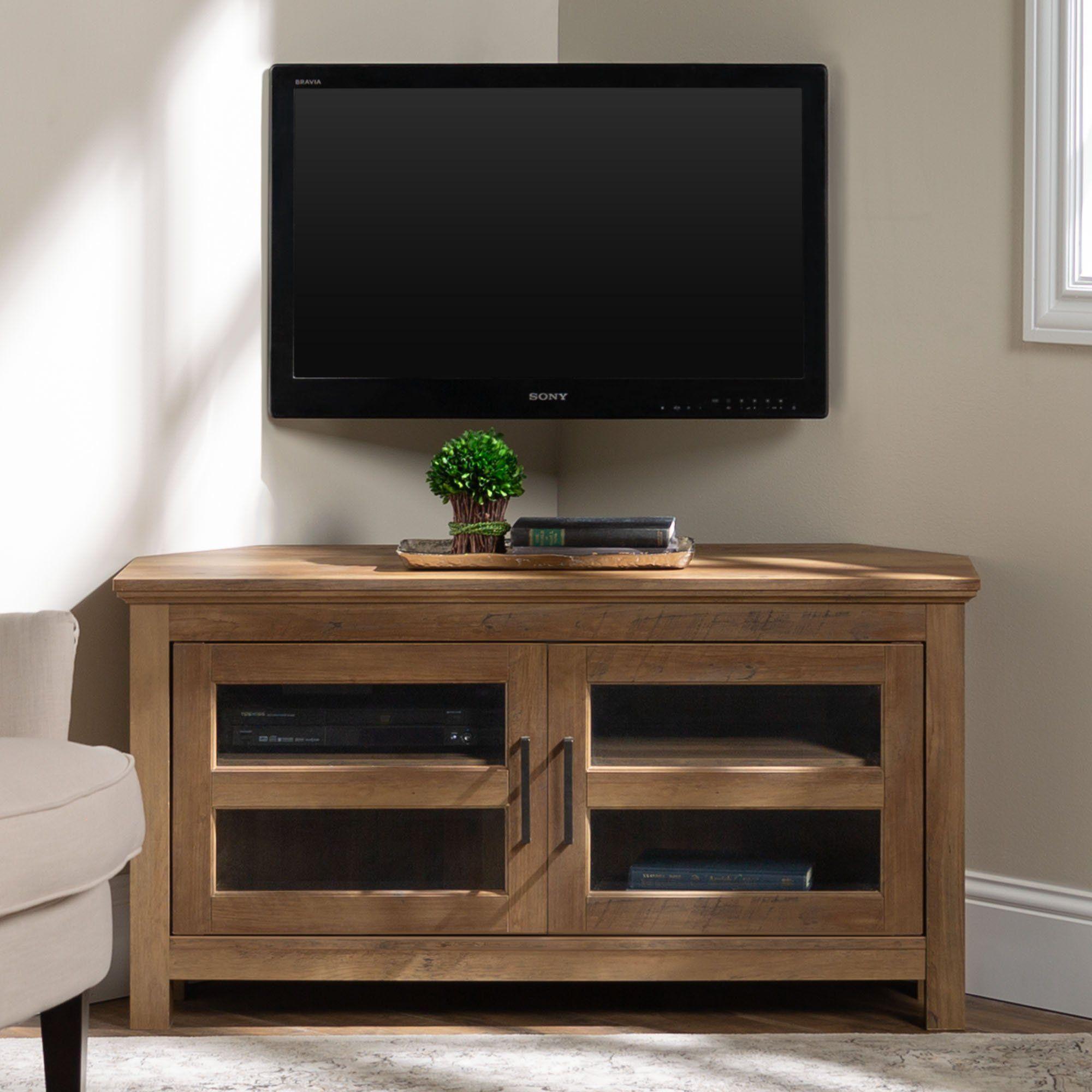 Brown Rustic Oak 44 Inch Corner Tv Stand In 2020 Wood Corne