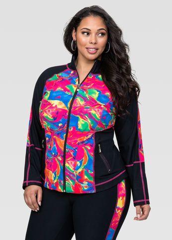 af09616f466 Plus Size Activewear- Marble Print Active Jacket  plussizeactivewear   workout  top