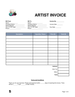 Free Artist Invoice Template Word Pdf Eforms Free Fillable Forms Invoice Template Word Invoice Template Invoicing
