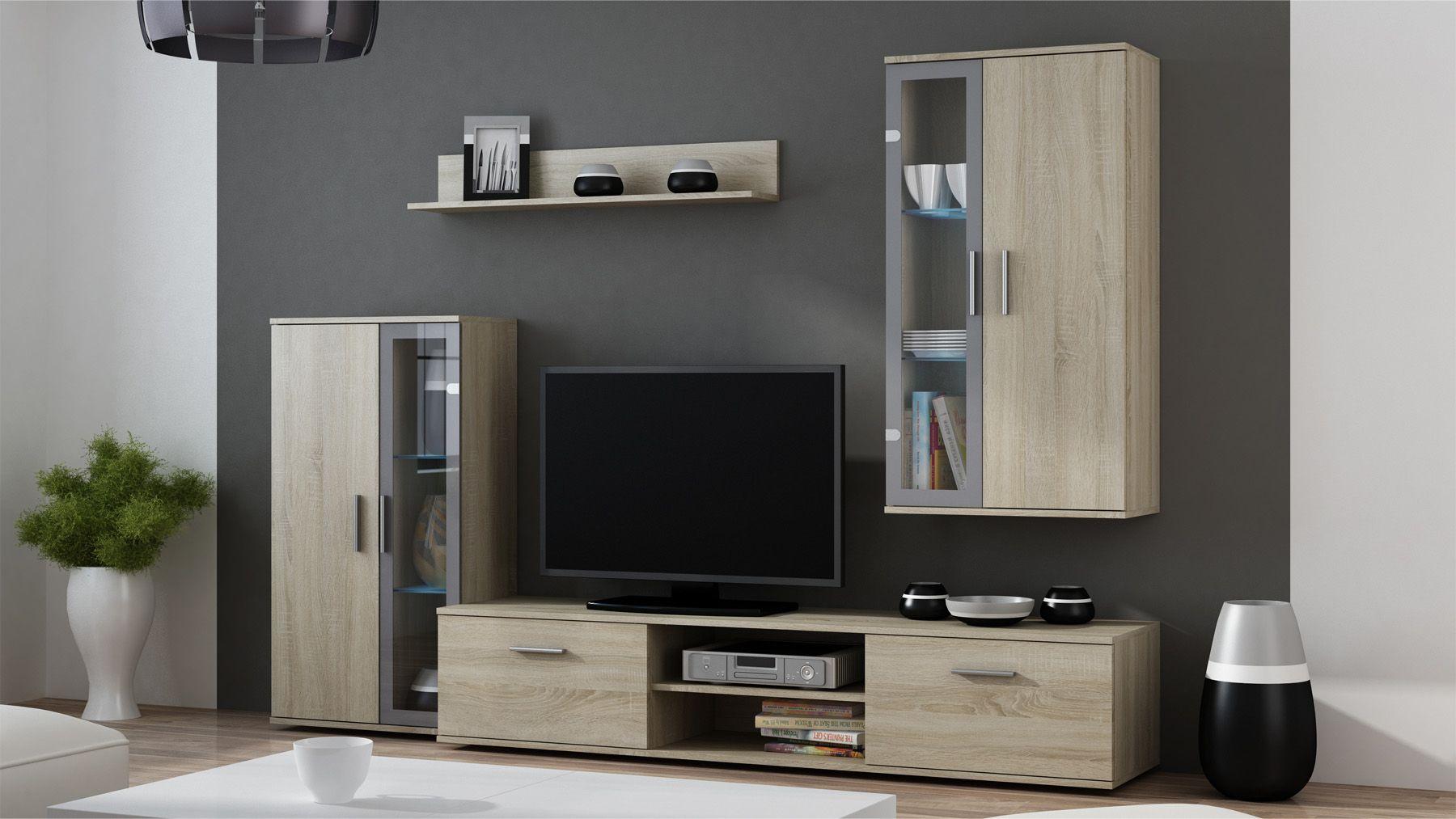 Orlando 2 Oak Wooden Tv Stands Modern Wall Units Pinterest