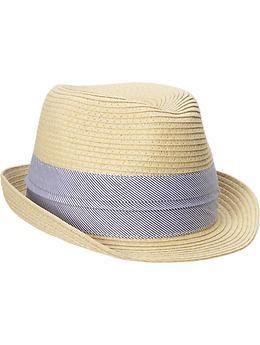 Reggie - Toddler Boys Brown Boater Straw Hat