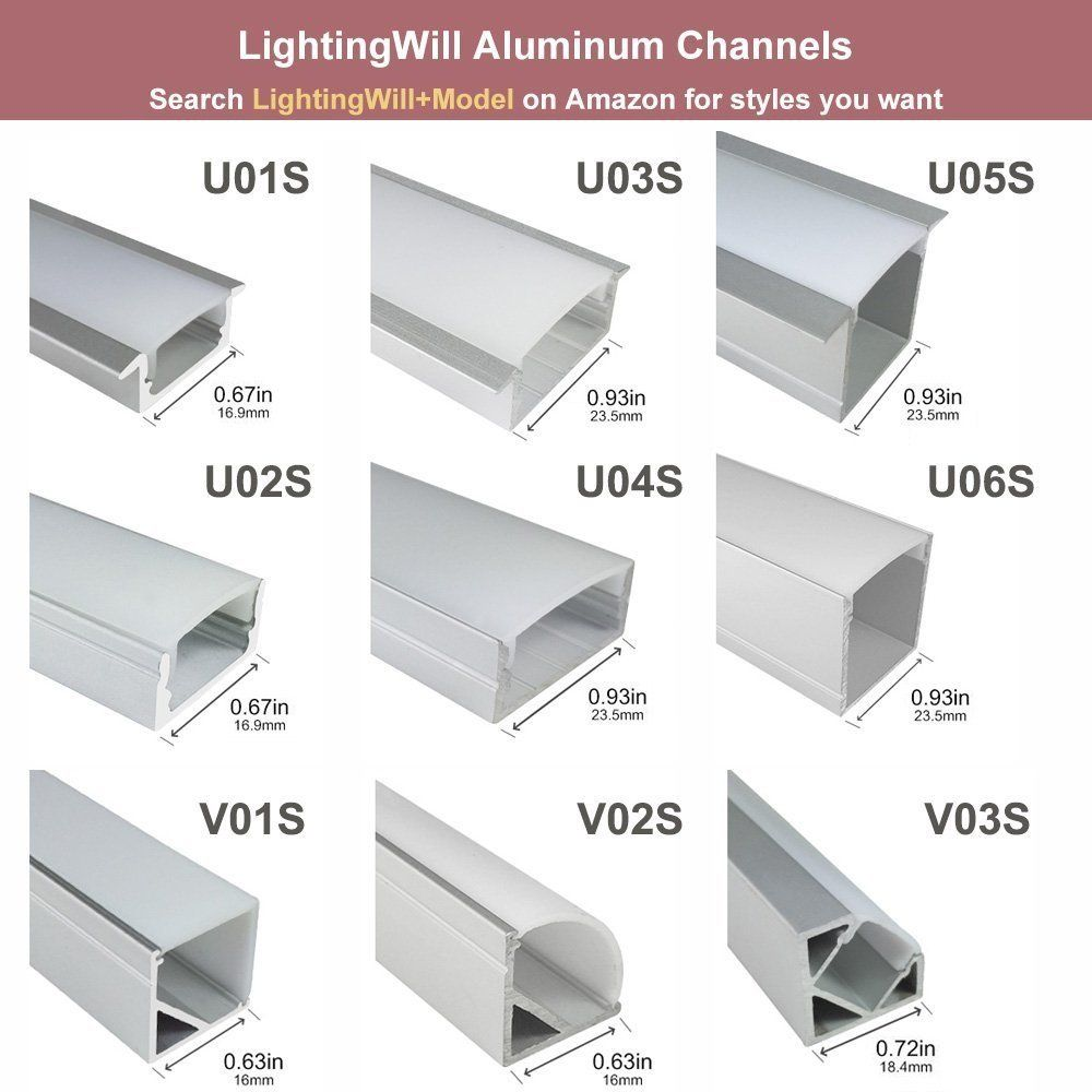 Lightingwill 6 6ft 2m 25 Pack164ft 50m 9x17mm Silver U Shape Led Aluminum Channel Set Internal W In 2020 Indirekte Beleuchtung Beleuchtung Wohnung Dekoration