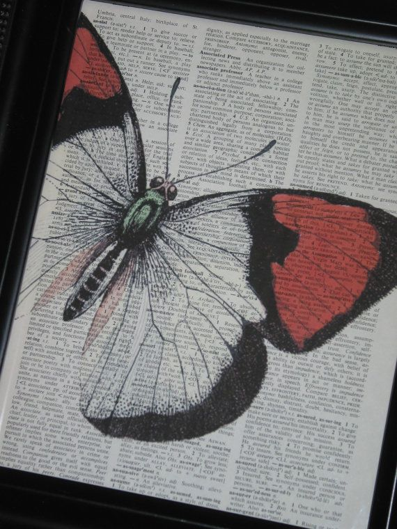 Butterfly Art, Butterfly Print, Dictionary Art, Dictionary ...