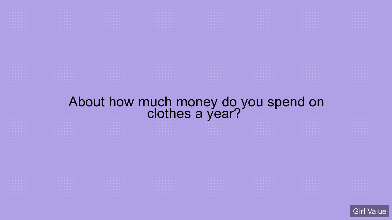About how much money do you spend on clothes a year?