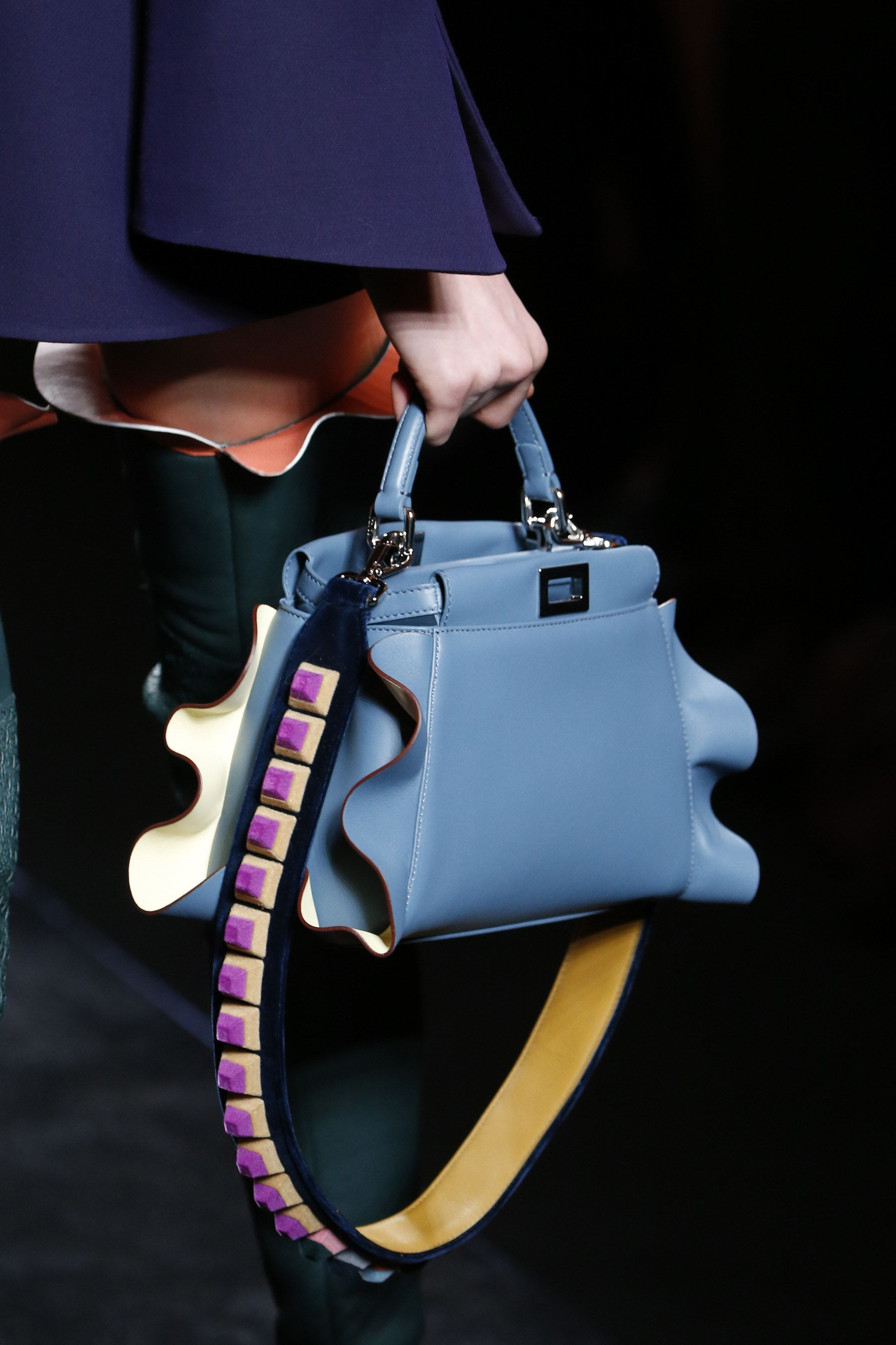 Fendi Fall 2016 - Bright blue ruffle edge peekaboo top handle bag with  contrasting strap - Ready-to-Wear Fashion Show Details...x d1fc8e65b26b4