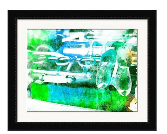 Blue Green Clarinet Print Music Photograph by TiffanyDawnSmith