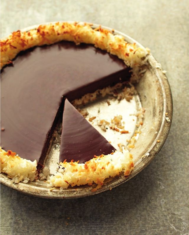 This delicious chocolate pie recipe only has four ingredients: butter, coconut, cream and chocolate. Very simple in nature but with quality ingredients the taste is divine!