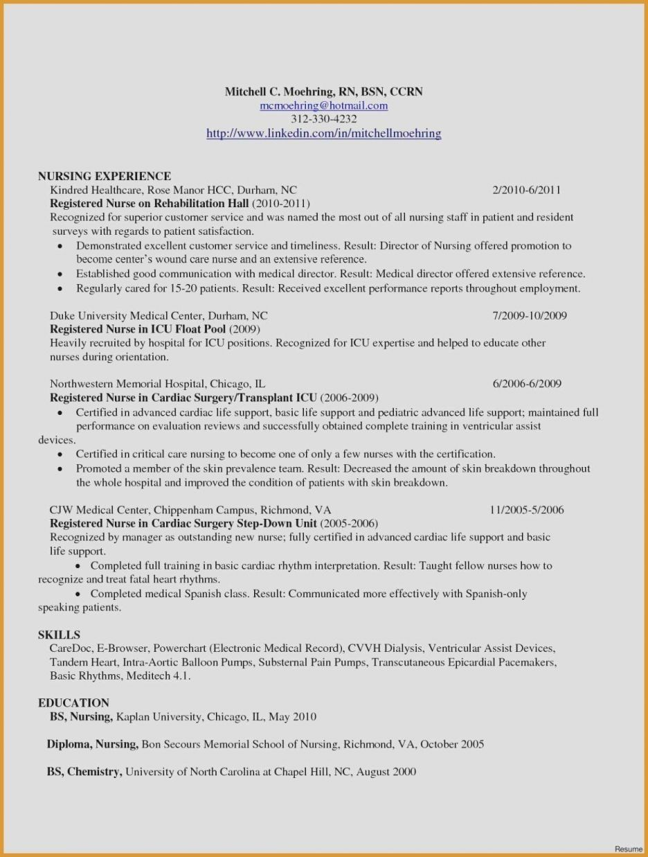 80 Beautiful Photos Of Sample Resume for Bsc Nurses