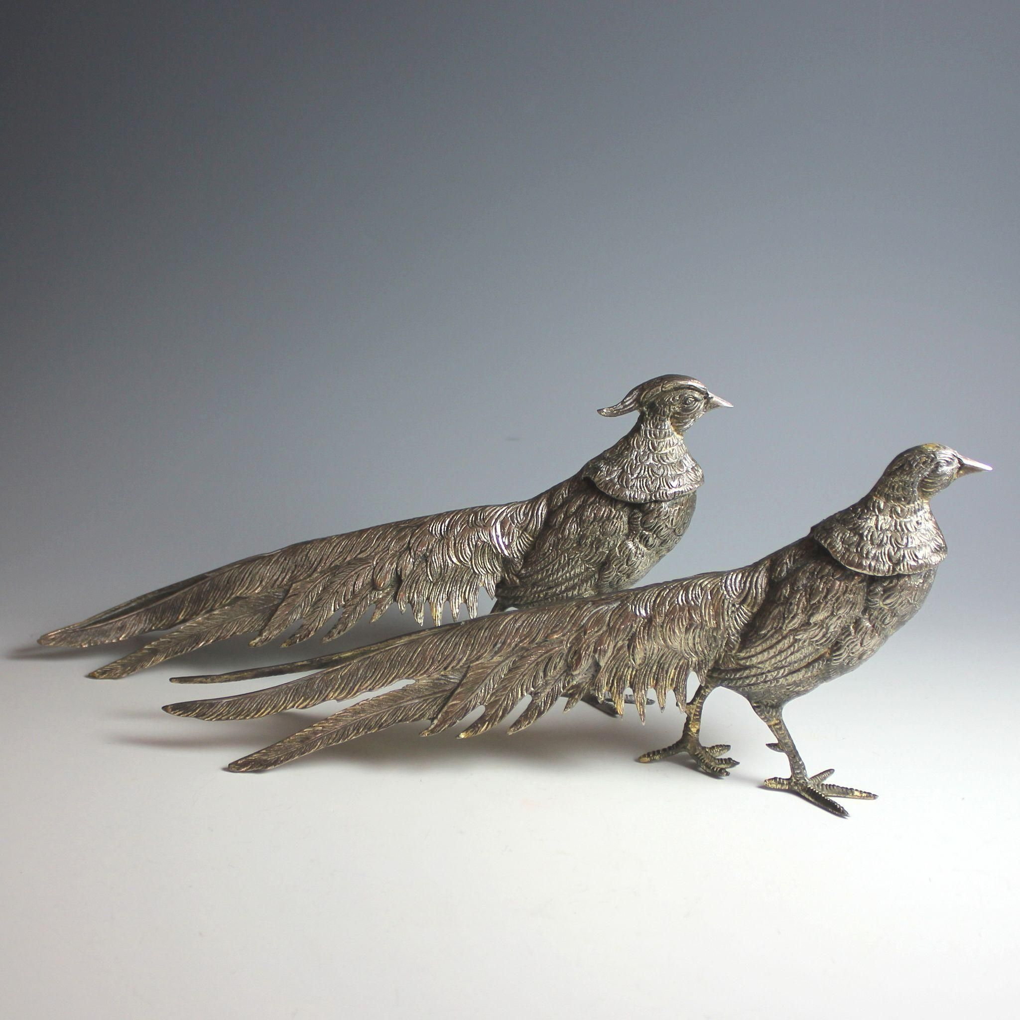 Pair of Vintage Silver Plate Pheasants Table display Silverplate ...