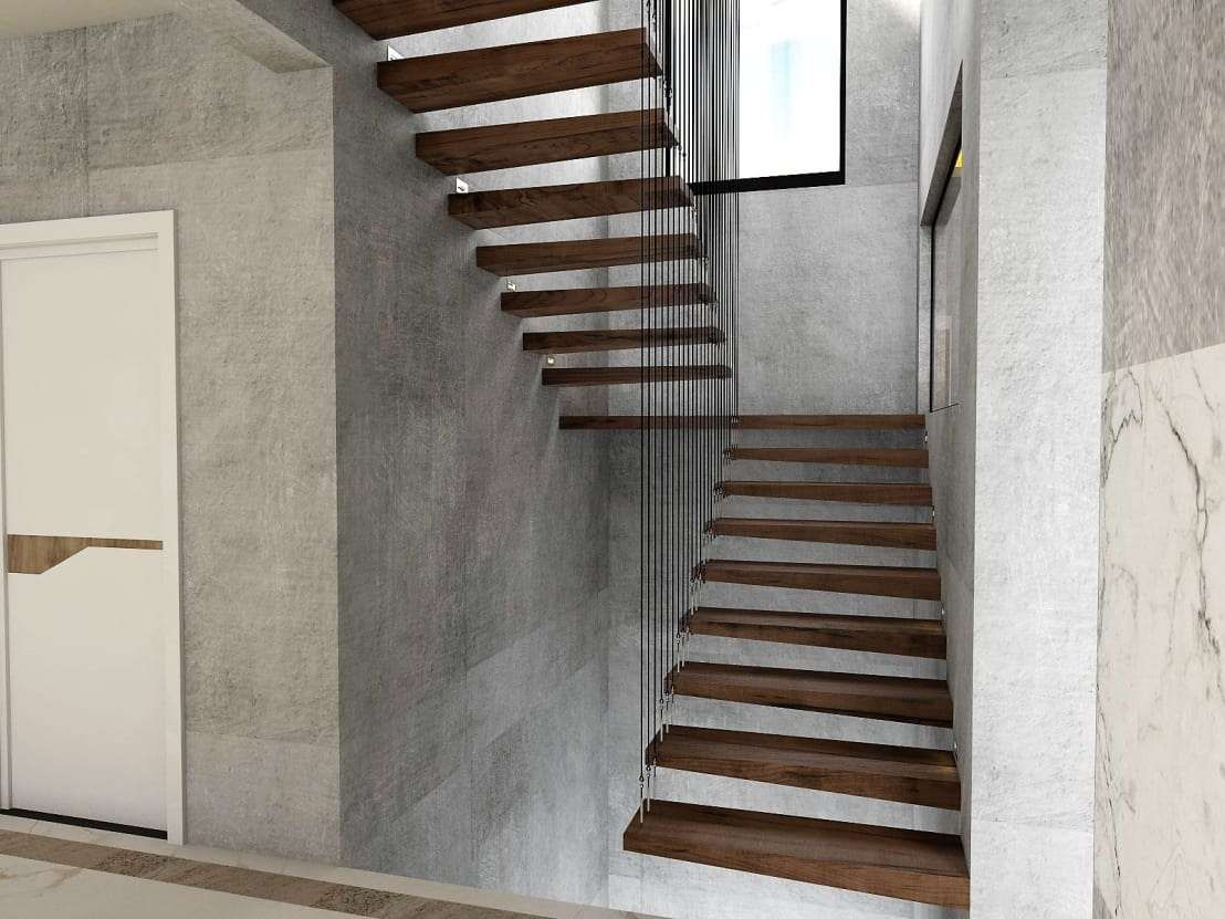 Hier scheinen die dunkelbraunen Holzstufen im Treppenaufgang zu ...