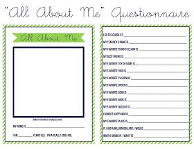 Sweet Nothings All About Me Questionnaire Preschool Journals All About Me Beginning Of School