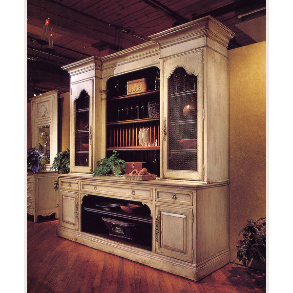 Habersham French Cupboard With Screen And Plate Rack French Cupboard French Country Kitchens Plate Racks