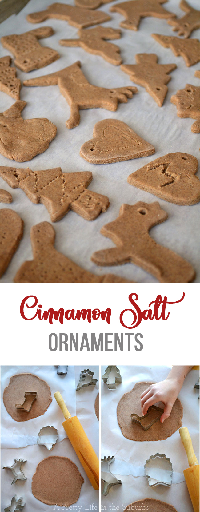 Cinnamon Salt Ornaments Great For Last Minute Homemade Gifts For The Kids To Make For T Salt Dough Christmas Ornaments Cinnamon Ornament Recipe Food Ornaments