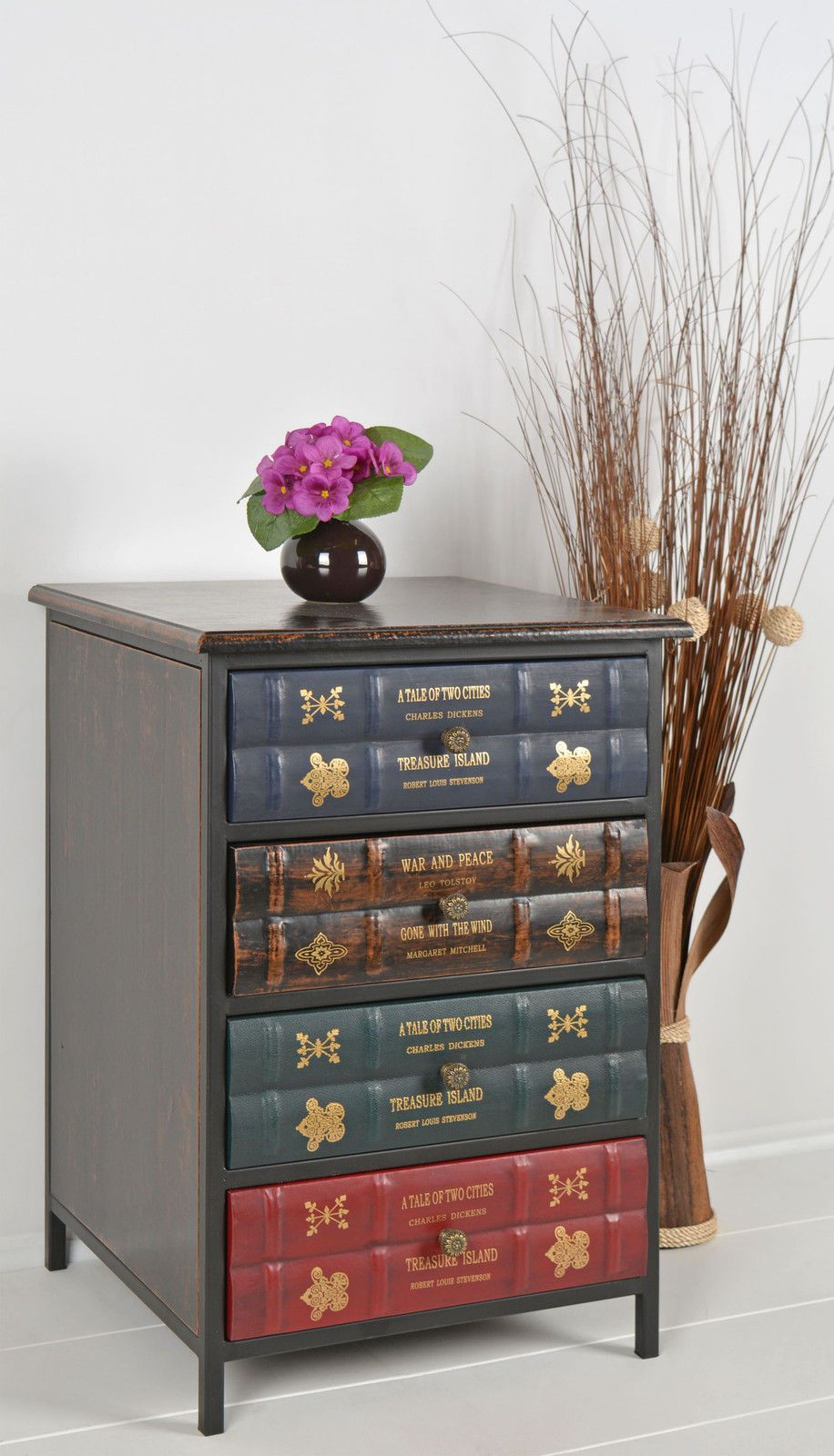 Chest Drawers Cabinet Bedside Table Cupboard Antique Book Vintage Look Design For Sale  E  A