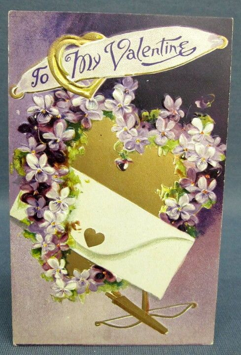 Antique Postcard Valentines Day To My Purple Violet Heart Gold Arrow Bow Ring