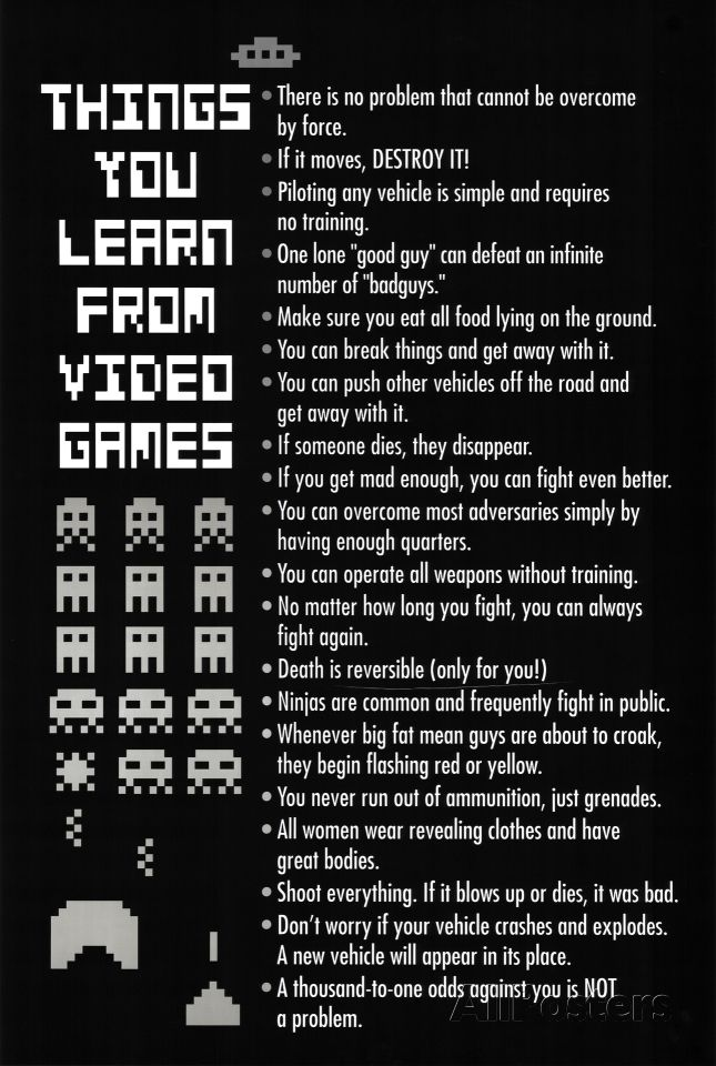 Things You Learn From Video Games Poster Print Photo Allposters Com Video Games Funny Video Game Quotes Funny Games