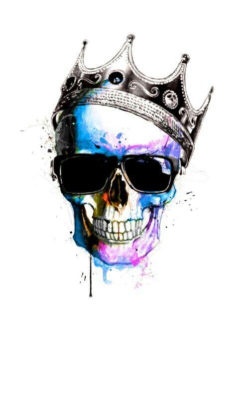 Crowned King Skulls White Background Skull Artwork Skull Wallpaper Skull Art Cool color skull wallpaper