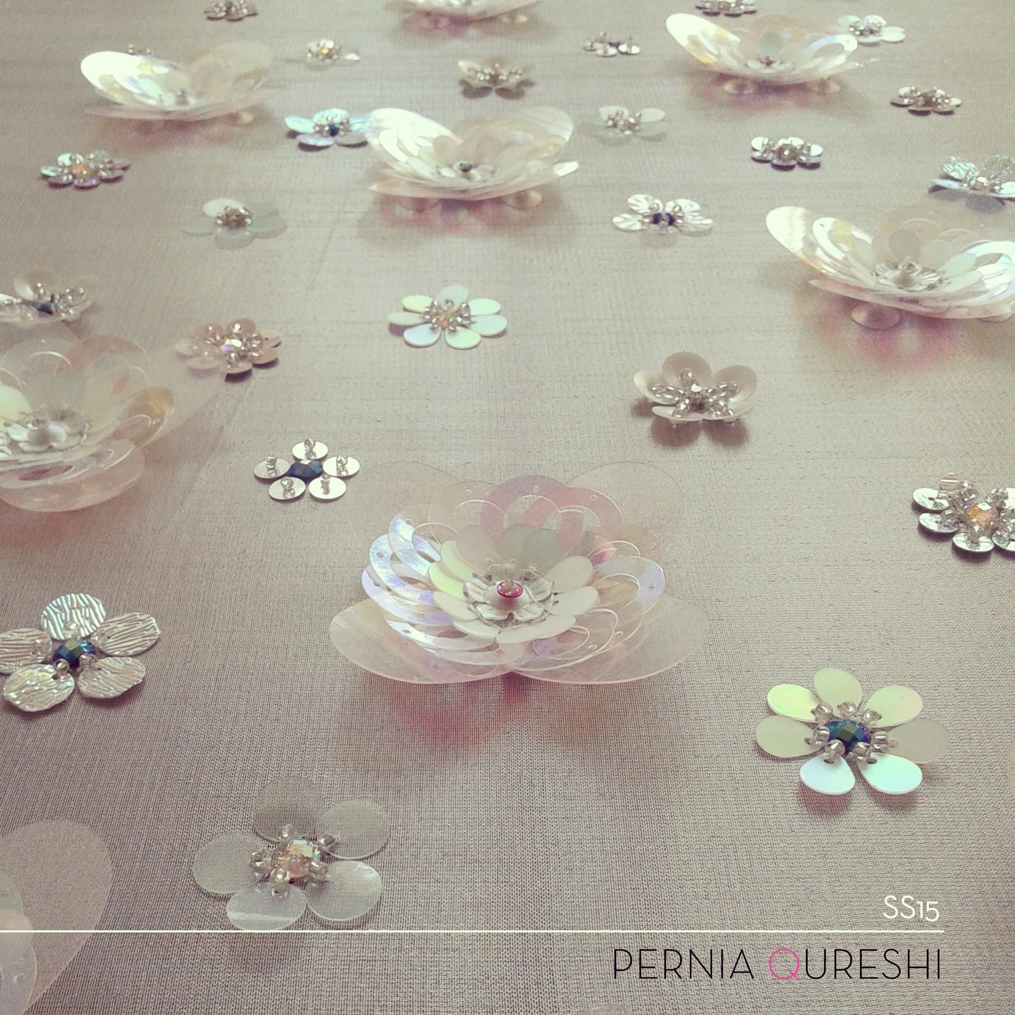 Pernia Qureshi  3d Sequin Flower Embroidery