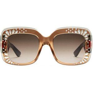 72b2099650a81 Gucci Oversize Square-Frame Rhinestone Sunglasses