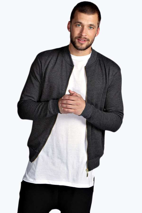 $20, Charcoal Bomber Jacket: Boohoo Slim Fit Bomber. Sold by BooHoo. Click for more info: https://lookastic.com/men/shop_items/251657/redirect