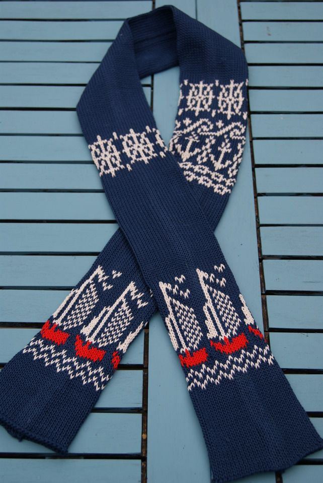 Nautical Cotton Knit Scarf - Folksy- Her Indoors