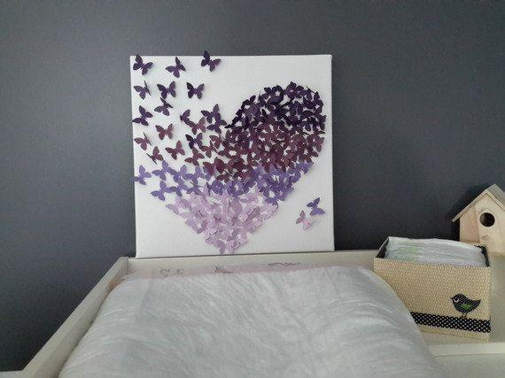 Toile papillons 3d relief mauve rose violet dégradé par CastoMarmo ...