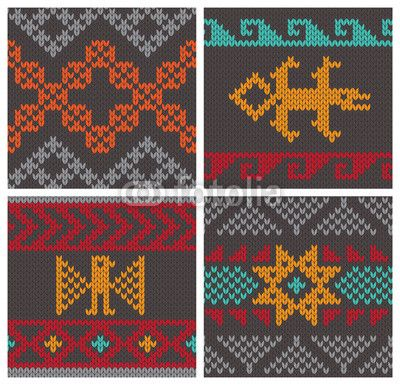 Vector: Traditional andean knitting patterns | Charts: Traditional ...