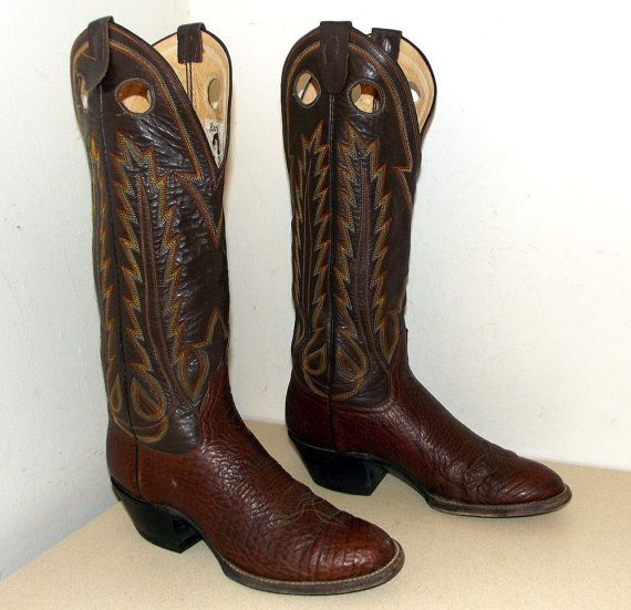 Handmade Laramie cowboy boots   two tone brown