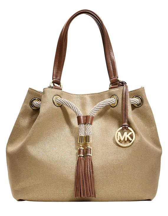 Michael Michael Kors Marina Canvas Large Gathered Tote Bag GOL