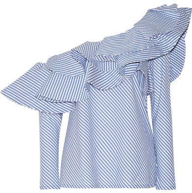 e77e6db0996 Johanna Ortiz - Anastasia One-shoulder Ruffled Stretch-cotton Poplin Top -  Sky blue